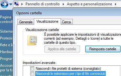 visualizzare le estensioni dei file su Vista
